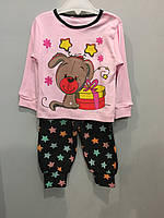 Трикотажный костюм с собачкой для девочки, фото 1