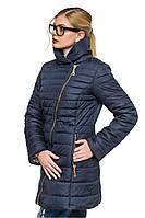 """Стеганная зимняя куртка с интересным фасоном синего цвета """"Миледи"""""""