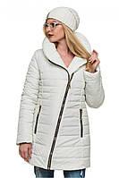 """Стеганная зимняя куртка с интересным фасоном белого цвета """"Миледи"""""""
