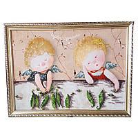 Картина без стекла: Волшебные горошины, вышитая бисером