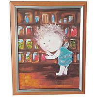 Картина без стекла: Из сладкого, я больше всего люблю соленые огурчики, вышитая бисером