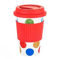 Керамический стакан - непроливайка с силиконовым обхватом, красный