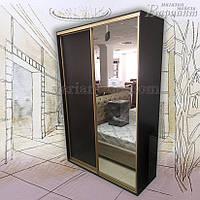 Шкаф-купе 2-х дверный с зеркалом (профиль золото)