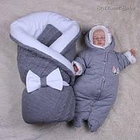 """Зимний детский набор для новорожденных, """"Глория+Мася"""" для девочки, серый"""