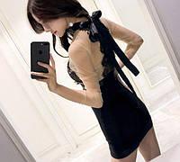 Платье женское с кружевом и бантом сзади