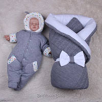 """Зимний детский набор для новорожденных, """"Глория+Мася"""" для мальчика, серый, фото 1"""