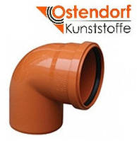 Отвод для наружной канализации Ostendorf KG ПВХ Ø 160х87º