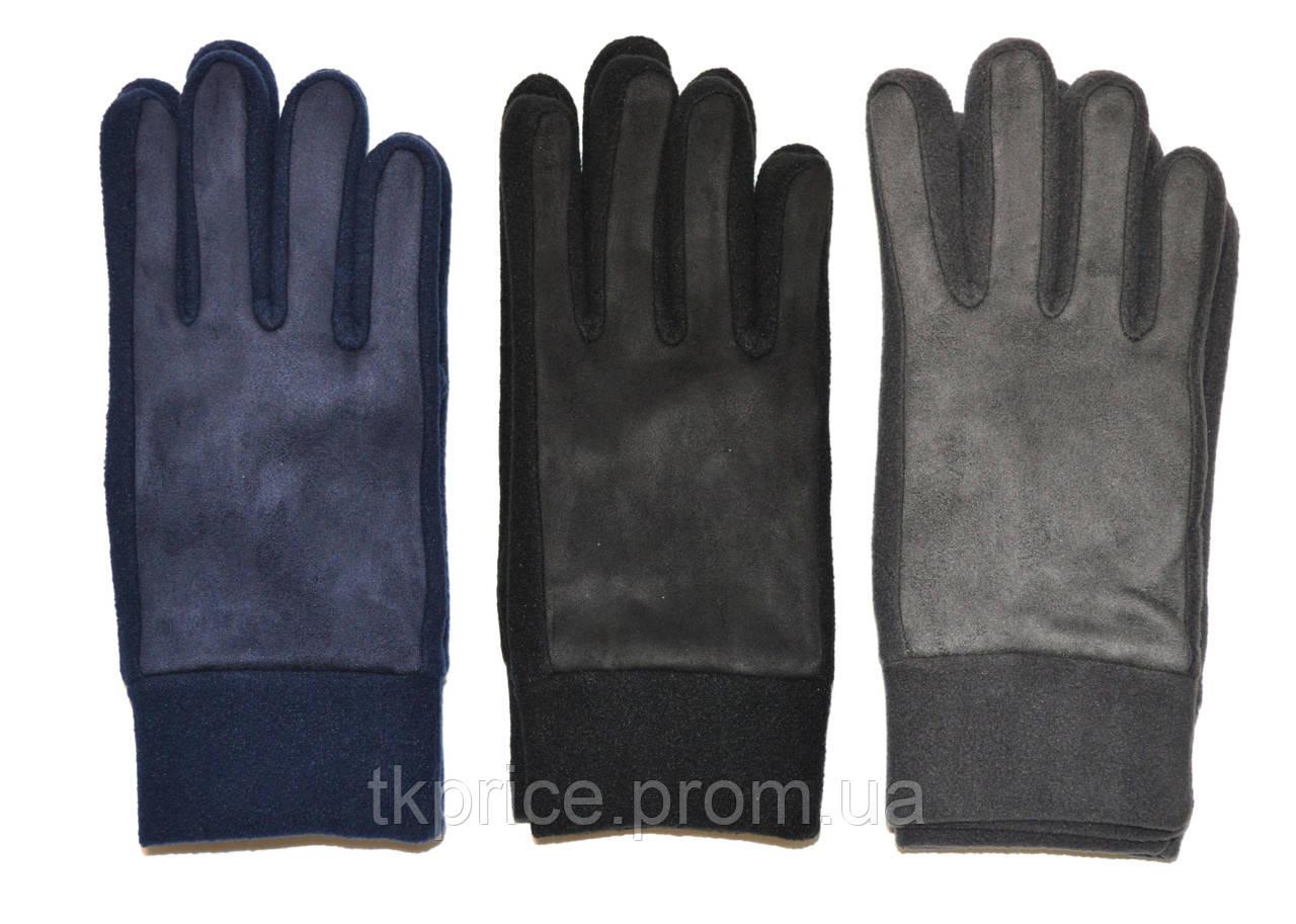 Подростковые флисово - замшивые перчатки одинарные длина 24 см