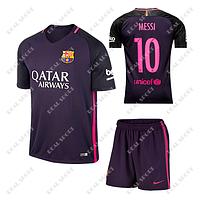 Футбольная форма детская Барселона Месси №10. Гостевая форма 2017