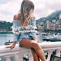 Блузка женская красивая  из штапеля с открытами плечами, фото 1