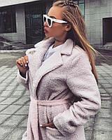 Демисезонное пальто французское букле нежно-розового цвета