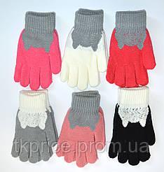 Детские трикотажные перчатки для девочек  - длина 19 см
