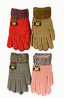 Детские трикотажные перчатки для девочек с совой - длина 16 см