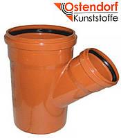 Тройник для наружной канализации Ostendorf KG ПВХ Ø 200/110х45º