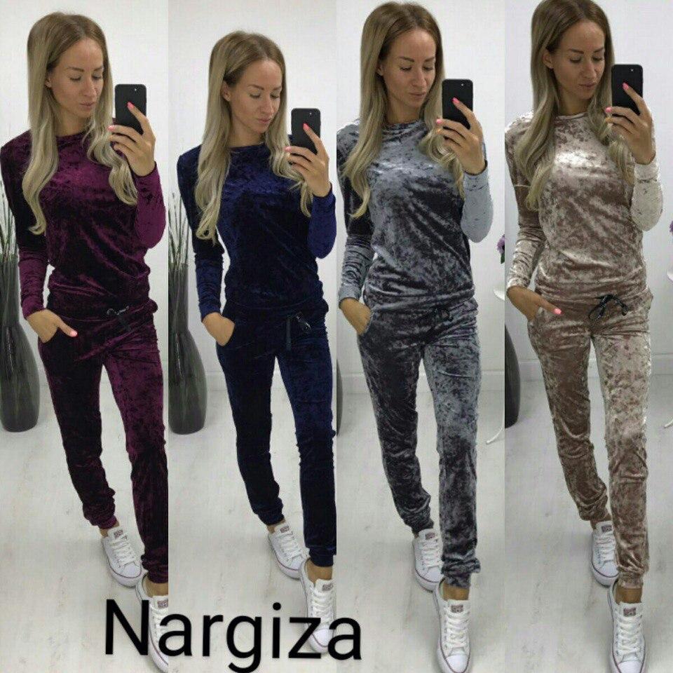 d0755f2beb76 Велюровый костюм кофта бомпер + штаны велюр муар разные цвета - Дом моды - женская  одежда
