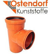 Тройник для наружной канализации Ostendorf KG ПВХ Ø 110/110х87º