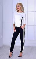 Женский трикотажный брючный костюм с кружевами Poliit №7081