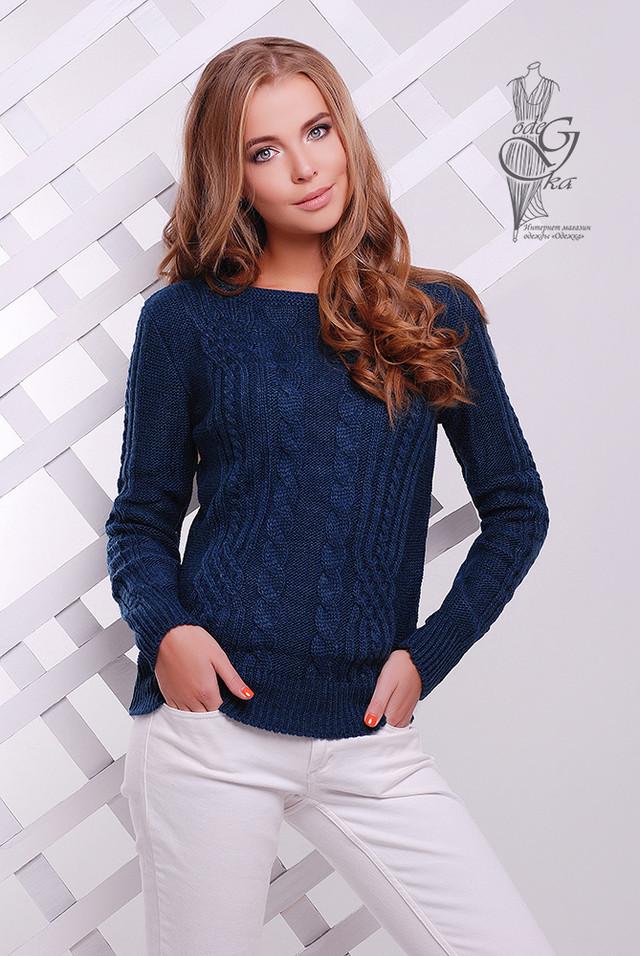 Цвет Джинс Женского свитера из шерсти и акрила Адель-14