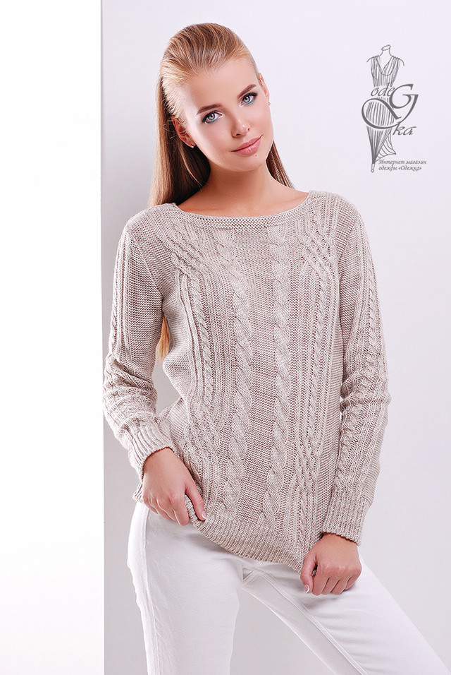 Цвет Капучино Женского свитера из шерсти и акрила Адель-14