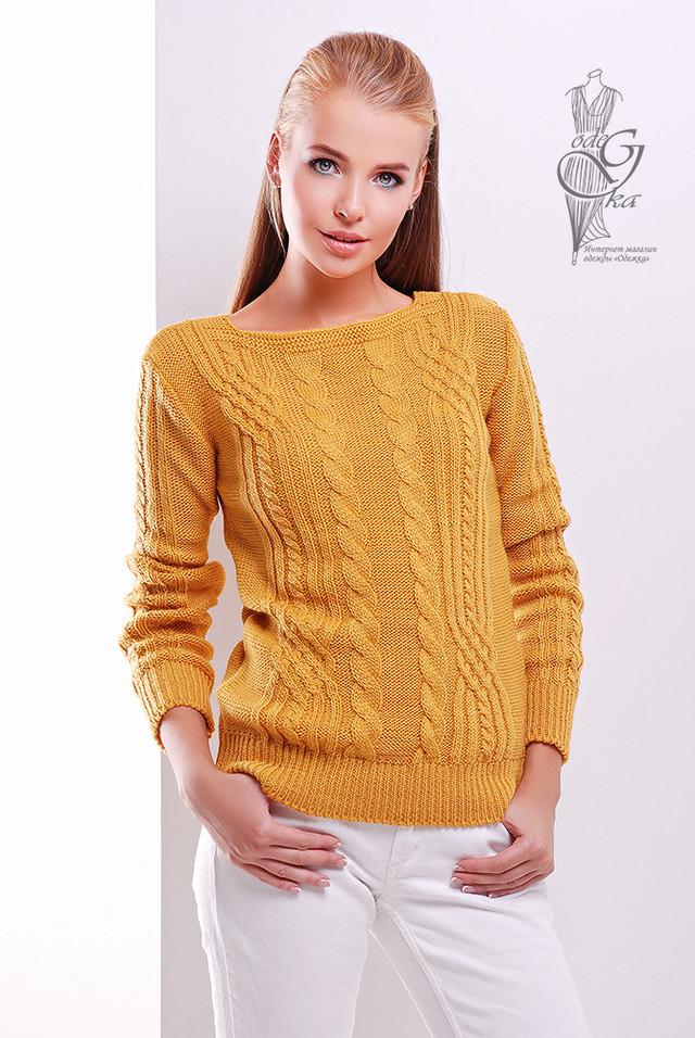 Цвет Горчица женского свитера из шерсти и акрила Адель