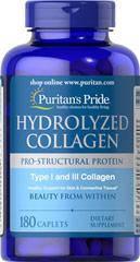 Коллаген гидролизат, Puritan's Pride Hydrolyzed Collagen 1000 mg 180 Caplets, фото 2