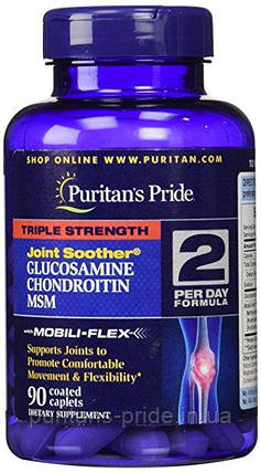 Препарат для восстановления суставов и связок, Puritan's Pride  Glucosamine, Chondroitin & MSM 90 таб, фото 2