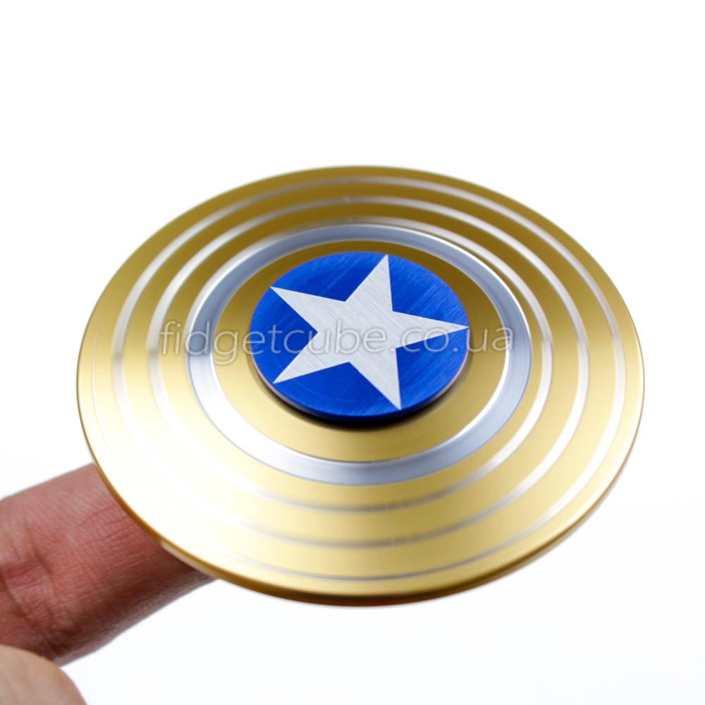 Spinner Капитан Америка золотой качество ТОП 9702