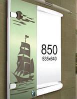 Зеркало с шкафчиком для ванной комнаты 535х640 мм ШК850