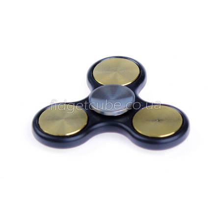 Spinner металл-пластик черно-золотой клевер качество ТОП 9401, фото 2