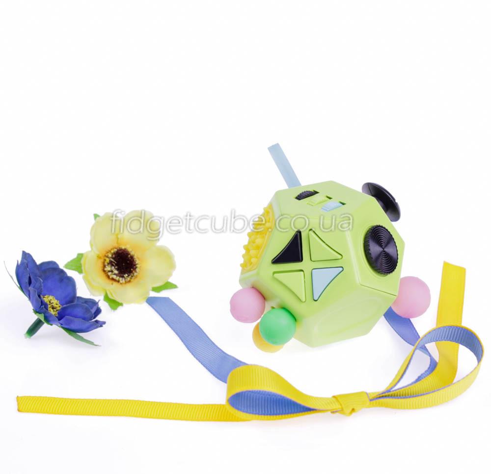 FidgetCube 2.0 - 12 сторон зелен-желтый - качество ТОП - 902-8