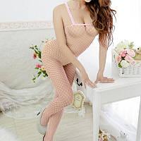 Женское эротическое белье розовое - Боди-комбинезон сетка