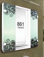 Зеркало с шкафчиком для ванной комнаты 700х640 мм ШК861