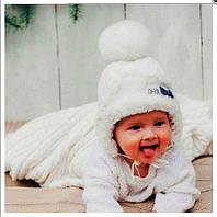 DemboHouse. Зимова шапочка для дівчинки Фрості молочна 321bb20cb07bb