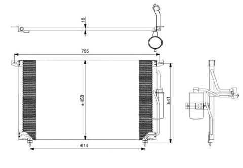 Радиатор кондиционера Opel Omega B 94- NRF