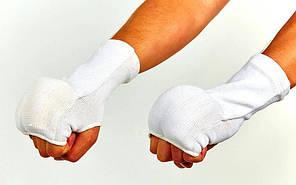 Накладки (перчатки) для каратэ LG20-W (PL, хлопок, эластан, р-р S-XL, белый)