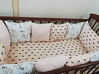 Комлект-защита в детскую кроватку: 11 подушек(30*30) + 1 подушечка (60*40), фото 1