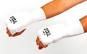 Накладки (перчатки) для каратэ удлиненные VELO ULI-10019(A) (PL, хлопок, эластан, р-р S-XL, белый)