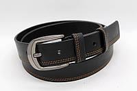 Ремень кожаный 40 мм черный прошитый двойной коричневой ниткой с одной стороны пряжка матовая рябристая