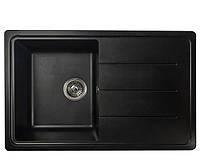 Гранитная мойка с сушкой 78*50 Valetti черная серия Europe модель №24 глубина чаши 19 см