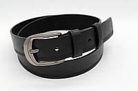 Ремень кожаный 40 мм чорного цвета прошитый двойной чёрной ниткой с одной стороны пряжка матовая рябристая