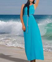 Платье- макси свободного фасона, с поясом. Цвет голубой