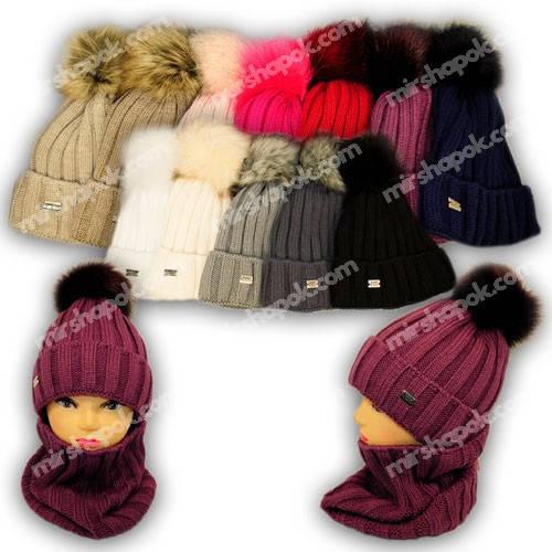 Комплект шапка и шарф (хомут) для девочки, р. 52-54, 1309, Agbo (Польша), подкладка флис