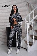 Костюм женский модный в стиле милитари из ангоры свитшот и брюки Dch647