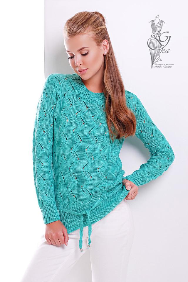 Бирюзовый цвет Вязаного женского свитера Вильнюс