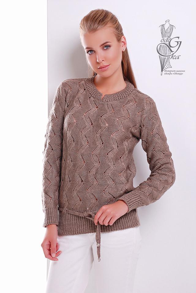Цвет Кофе Вязаного женского свитера Вильнюс