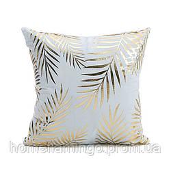 Декоративная подушка велюровая с золотистими элементами Листья