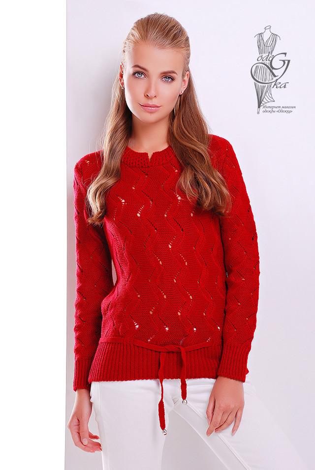 Красный цвет Вязаного женского свитера Вильнюс