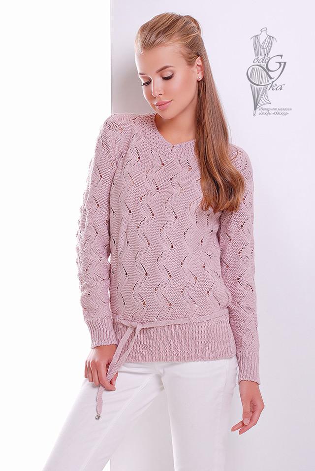 Цвет Пудра Вязаного женского свитера Вильнюс