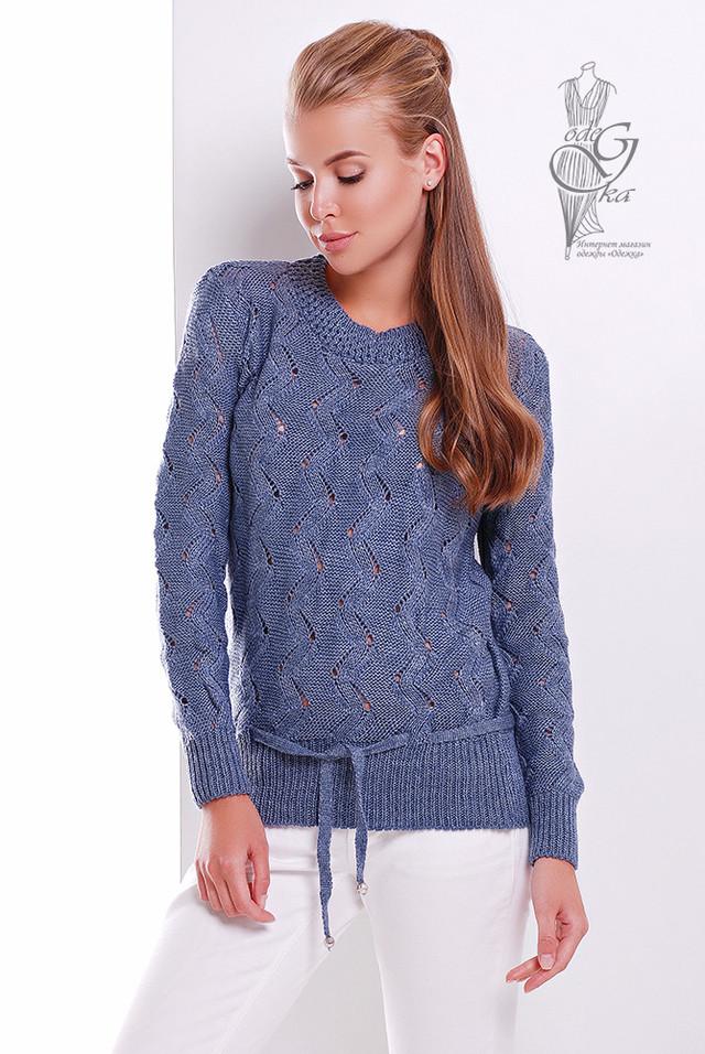 Цвет Джинс Вязаного женского свитера Вильнюс