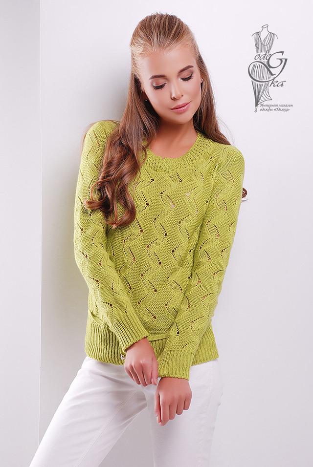Фисташковый цвет Вязаного женского свитера Вильнюс